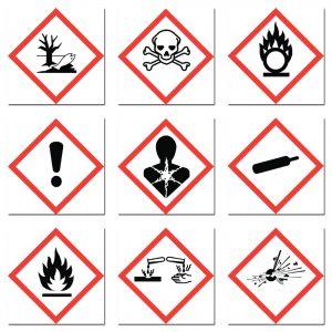 chemical label hazard symbols