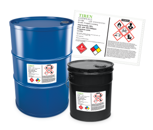 drums with ghs chemical labels